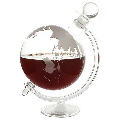 Glass Globe Decanter World Whiskey Rum Vodka Decanter Bar Drinks Cabinet Gift