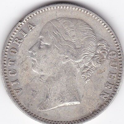 1840 British India Queen Victoria One Rupee Silver Coin Divided Type. Lot6