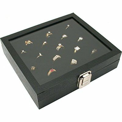 Ring Box Organizer 36 Slots Storage Jewelry Holder Glass Top Display Case Tray