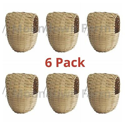 6x Finch Wicker Nesting Box Nest With Hooks Back Finches Canary 11x10x9cm
