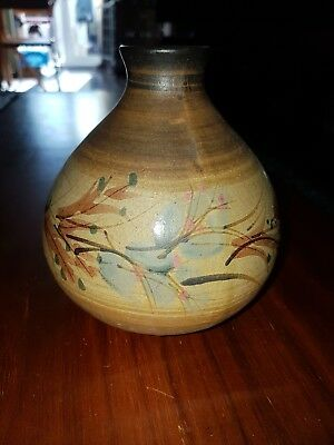 5.5 Inch Pottery Vase  Brown Floral