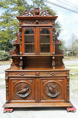 19th Oak Sideboard Buffet with China Bookcase Top~~Carved Birds and Nuts