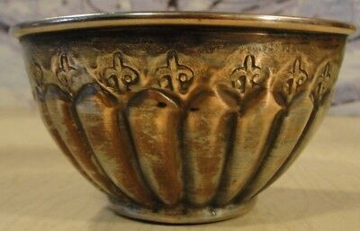 """Vintage Egyptian 4 1/2"""" Hand Made Hand Stamped Copper Silver Finished Bowl"""