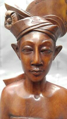Old Vintage Hand Carved Wooden Balinese Figure Statue Bust Wood Carving Bali Man