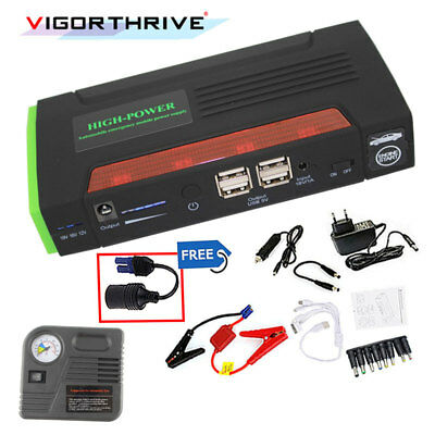 Car Jump Starter Auto Power Bank Battery Charger Muti-function With Pump 4 USB