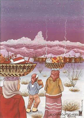 """12 Native American Holiday Cards, """"Bringing Gifts"""" by Michael Chiago"""