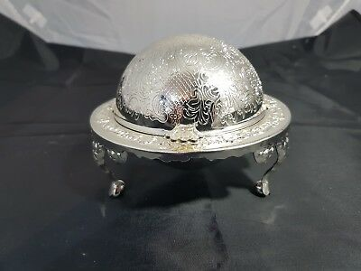 A Vintage silver plated  Roll Top Butter/caviar Dish With Elegant Patterns.