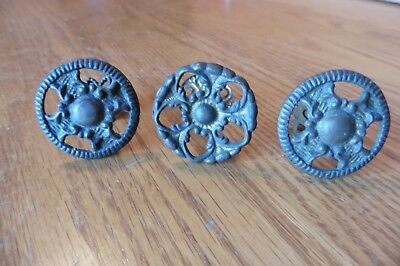 3 Brass drawer door knobs Pulls Round ornate Shape Vintage antique pull salvaged