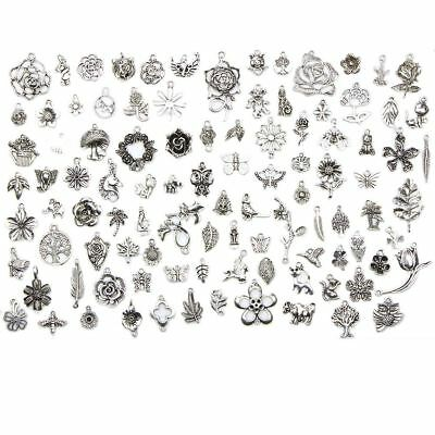 Wholesale 100pcs Bulk Lots Jungle Series Silver Mix Charm Pendants Jewelry DIY