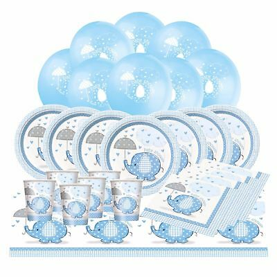 BLUE UMBRELLAPHANTS Baby Shower Boy Party Pack 8 16 32 Guests Buffet Tableware