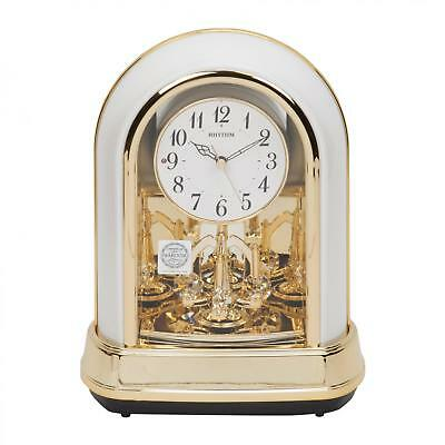 Rhythm Gold White Arched Crystal Pendulum Mantel Table Clock Melodies