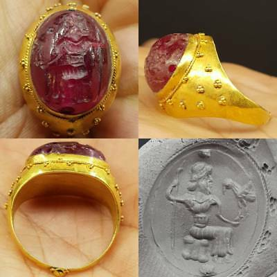 22k Karat Gold Old Wonderful Ring Roman Ruby Stone king With Eagle bird     #6A