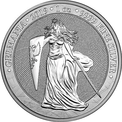 2019 1 Oz Silver Germania 5 Mark GERMANIA Coin.