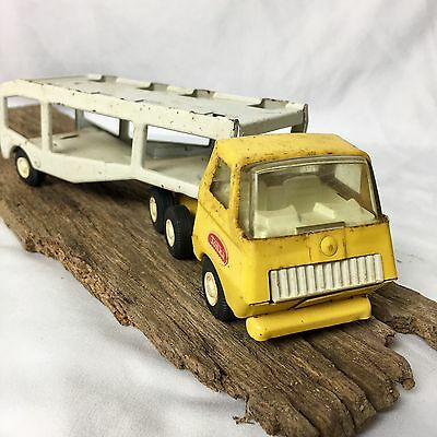 Vintage Tonka Yellow White  Truck Car Carrier Pressed Steel Car Hauler Toy