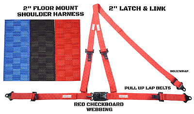 "Dirt Racing 2"" Harness Red Checkerboard 3 Point Floor Y Mount Belt Pull Up Lap"