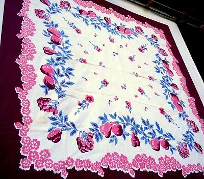 Vintage 40's pink fruits & flower Tablecloth cherry pear peach