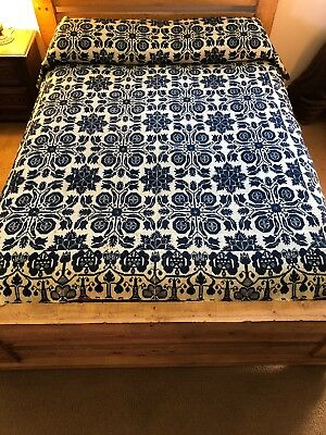Antique Jacquard Loom Woven Bedspread Coverlet