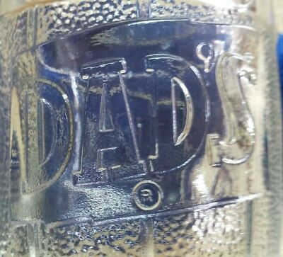 Vintage Dads Old Fashioned Root Beer heavy embosed clear glass Barrel Mug Stein