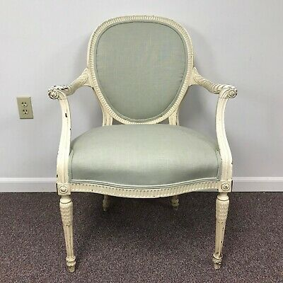 Early 20th Century White French Louis XVI Chair Armchair (3 available)