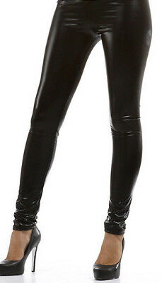 SeXy Wetlook GoGo Lack Leder Optik Damen Leggings Hose Schwarz