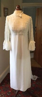 VINTAGE 1960's/70's WHITE SATIN & LACE WEDDING DRESS WITH TRAIN