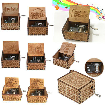 Harry Potter Game of Thrones Tiny Music Box Engraved Wooden Hand-Cranked Toys
