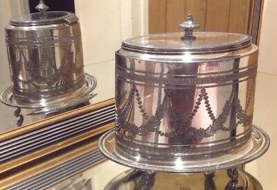 Antique Silver Plated Biscuit Barrel By James Dixon EPBM