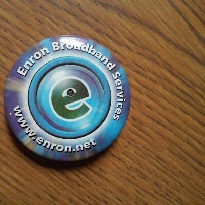 "Enron Corp Promo Item – ""Enron Broadband Services"" Pin-Back Light-up Button"