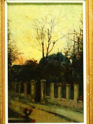 19th Century FRENCH IMPRESSIONIST SUNSET STREET SCENE Antique Oil Painting