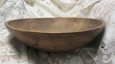 Vintage Hand Turned Farm House Rustic Wood Dough Bowl 16""