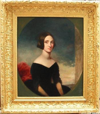 STUNNING 19th CENTURY Portrait YOUNG LADY Antique Oil Painting