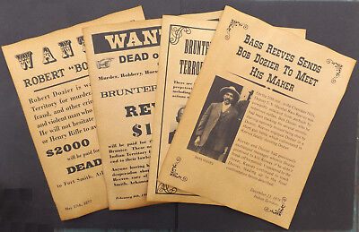 Set of 4 Bass Reeves Old West Posters, wanted, Bob Dozier, Brunter Brothers