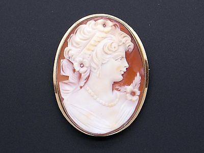14k Yellow Gold Carved Shell Cameo Woman Portrait Pendant Brooch Pin Pendant