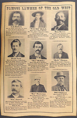 Lawmen of the Old West 11x17 Poster, wanted, Earp, Bullock, Reeves, Masterson