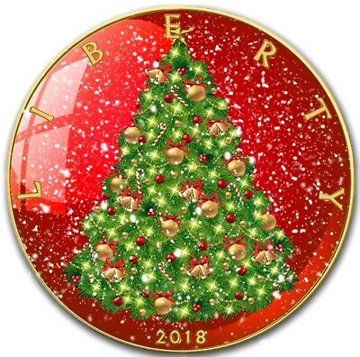 2018 1 Oz Silver $1 CHRISTMAS EAGLE Coin WITH 24K GOLD GILDED.