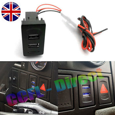 For VW T4 USB Charger Audio Lead Dash Blank Rocker Switches 2 Port Socket DC 12V