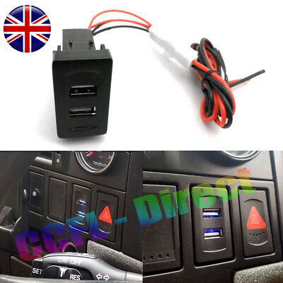 VW T4 USB Charger Blue Dual Dash Blank Rocker Switches 2 Port Socket DC 12V LUPO