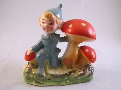 Vintage BP Imports Blue Pixie Elf Leprechaun Mushroom Large Base Figurine