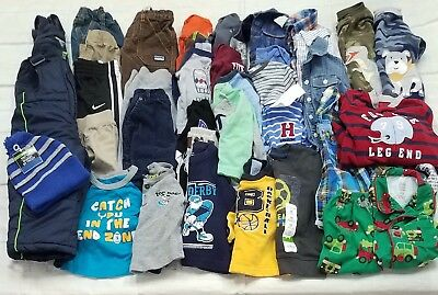 Baby Boys Lot Of 37 Clothes/outfits/snow Bib Overalls+ Sz.12/12-18 Mo Winter