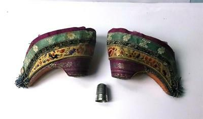 ANTIQUE PAIR of LADIES/GIRLS CHINESE QING LOTUS/LILY SHOES - MOUSE DESIGN