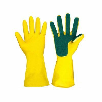 Latex Five Fingers Cleansing Gloves Compound Sponge Cleaning Dishwashing~UK6