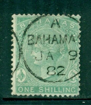 BAHAMAS 19 SG39 Used 1880 1sh grn QVIC Wmk Crown CC Perf 14 Cat$10