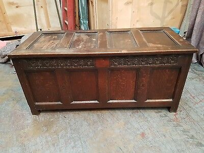 Large Georgian Antique Old Solid Oak Chest Blanket Trunk Children's Toy Box
