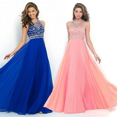 Women Long Chiffon Dress Formal Evening Party Bridesmaid Ball Gowns Dresses New