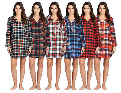 Ashford   Brooks Women s Flannel Plaid Long Lounge Shirt Sleep Nightshirt 304781c17