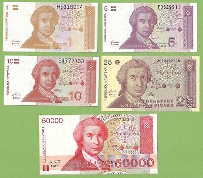 Croatia - Lot - 5 banknotes - 1991-1993 - UNC Paper Money Banknote Currency Bill