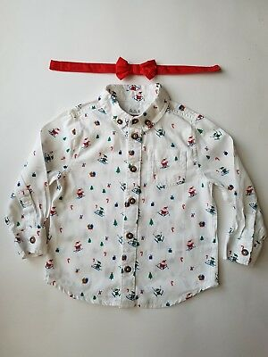 Worn Once Baby Boys Christmas Shirt W/bow Tie 18-24 Months From F&f