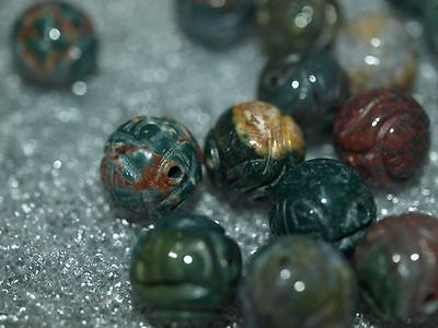 Vintage Carved Chinese Green Bloodstone Stone Round Bead w/Shou Design 12mm