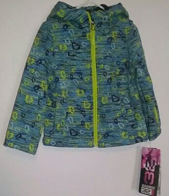 32 Degrees Weatherproof BOY'S Size 4 Winter Coat Jacket NWT Blue Green w/ HOOD