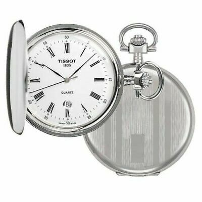 Tissot Mens Savonnette Silver Pocket Watch Quartz Wristwatch T836.553.13